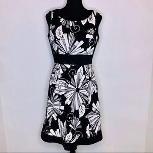 Tahari ASL black and white floral dress size 6